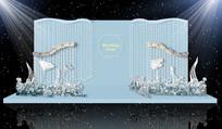 蓝色钻石主题婚礼合影区 PSD