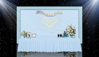 蓝色钻石主题婚礼签到区 PSD
