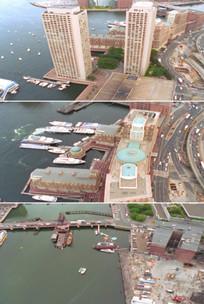 欧洲海滨城市风光高楼港口码头航拍视频