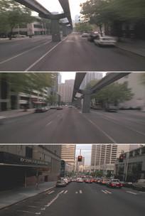 现代化城市建设风光马路高架桥实拍视频