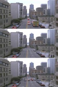 现代化城市街景道路车辆穿梭实拍视频