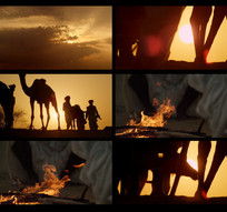 夕阳西下沙漠剪影视频
