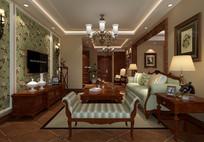 中式客厅效果图 JPG