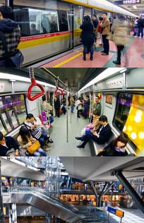 地铁高速公路穿梭城市夜景