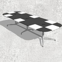 黑白方格长桌