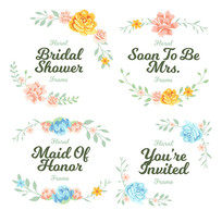 花卉文字边框装饰图案素材AI AI