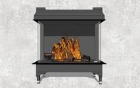 灰色现代壁炉