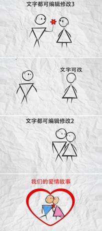 简洁动画版爱情故事ae模板