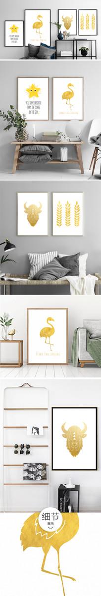 金色动物花卉植物装饰画