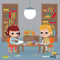 认真学习的孩子插画素材AI AI