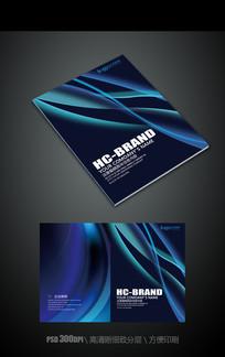 深蓝科技动感线条画册封面模板