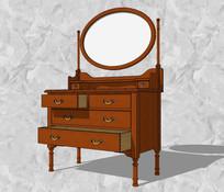 收纳圆镜装饰柜