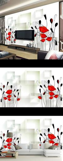 现代简约抽象花卉3D方框时尚电视背景墙