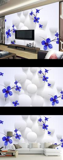 现代简约抽象花卉3D立体壁画电视背景墙