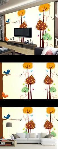 现代简约卡通花卉儿童房背景墙