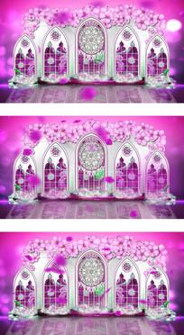 粉紫色浪漫爱情玫瑰花飘落教堂式婚礼背景 mpg