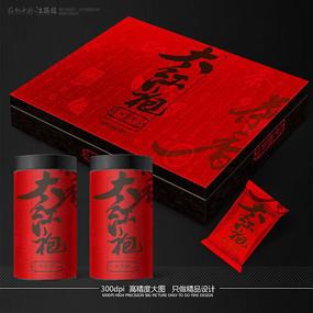 高端大红袍茶叶包装设计展开图 PSD