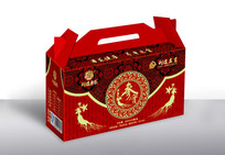 高端红色礼盒包装 AI