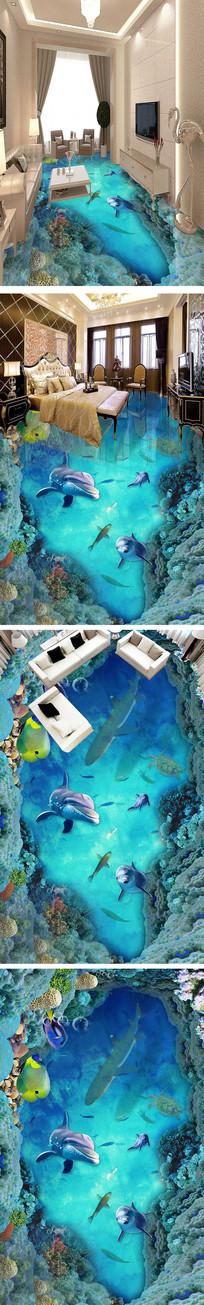海豚海底世界3D立体浴室客厅地板地砖