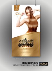 金色高端美容美发宣传海报