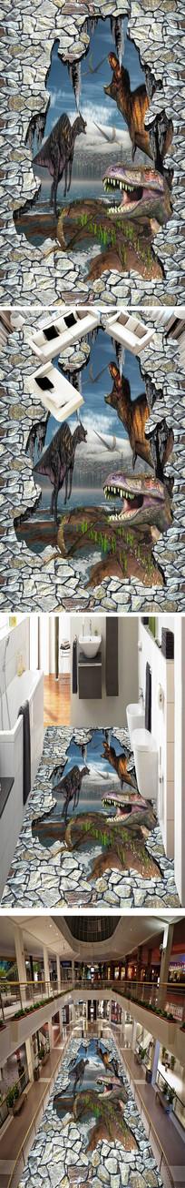 恐龙世界立体地画地砖