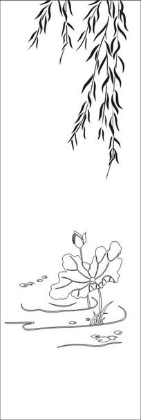 柳叶荷花雕刻图案图片