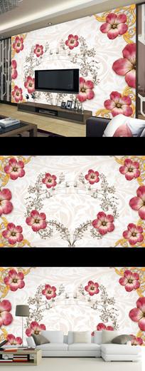 梦幻花朵时尚现代花纹电视背景墙