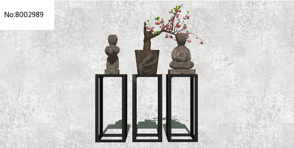 三个中式古典摆件图片