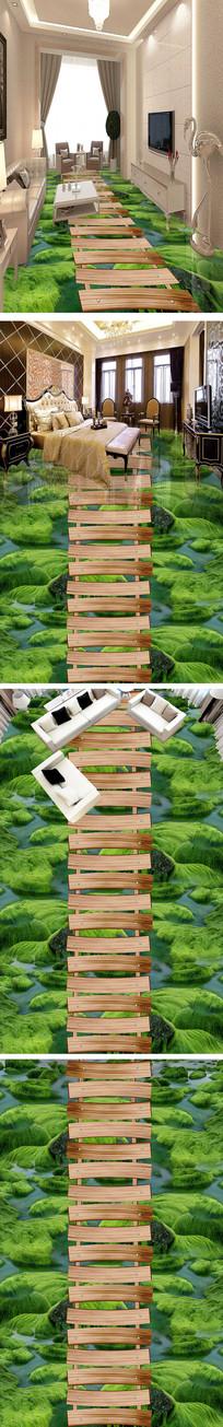 唯美河流石头苔藓走道浴室3D地板