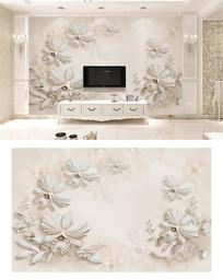 3d浮雕欧式蝴蝶兰电视背景墙