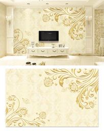 3d立体金色欧式浮雕电视背景墙