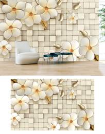 3d立体砖墙花朵时尚电视背景墙