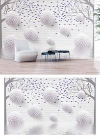 多边形圆球树叶水纹3d电视背景墙