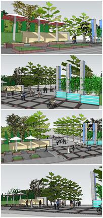 公园入口大门SU模型