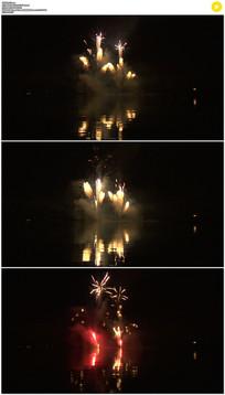 湖边的烟花实拍视频素材