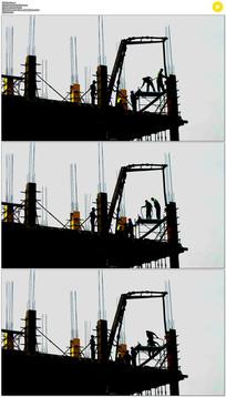 建筑工人剪影实拍视频素材