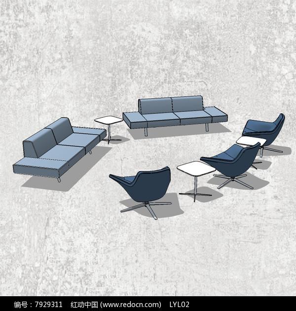 蓝色系沙发skp素材下载_室内装修设计图片总监之路包装设计教程图片