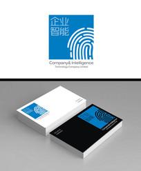 蓝色指纹款智能科技企业logo标志加名片效果