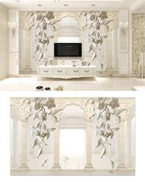 罗马柱欧式浮雕3d电视背景墙