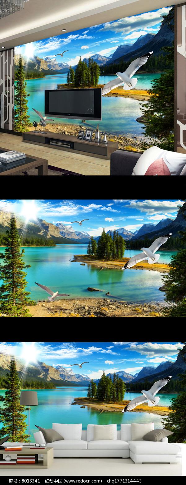 唯美现代山水风景壁画电视背景墙图片