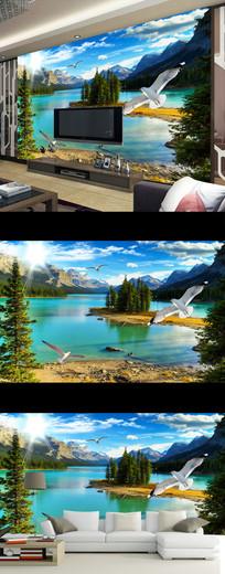 唯美现代山水风景壁画电视背景墙