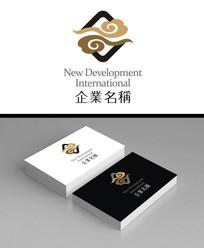 祥云款企业酒店logo标志加名片效果