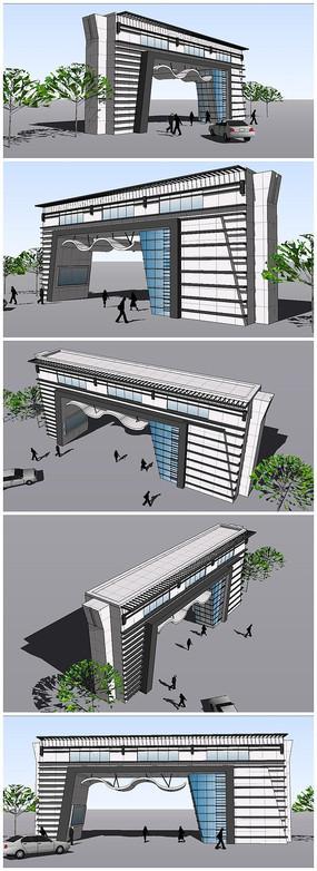 原创设计稿 3d模型库 围墙|栏杆|大门 新中式景观门小品su模型  小区图片