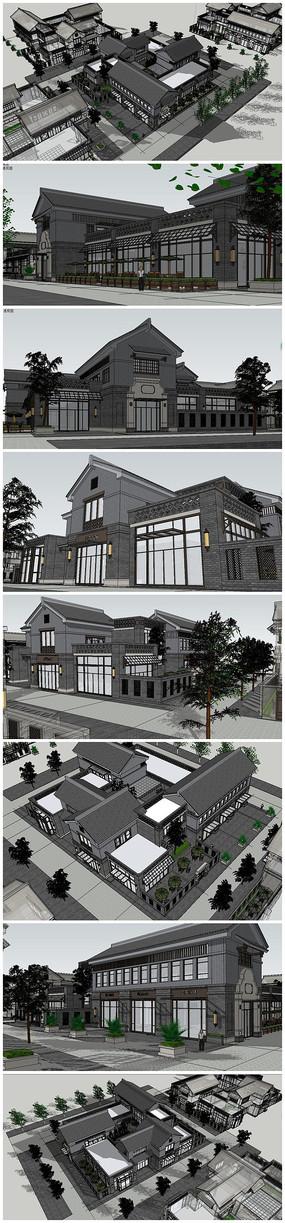 中式民国风格商业中心建筑SU模型