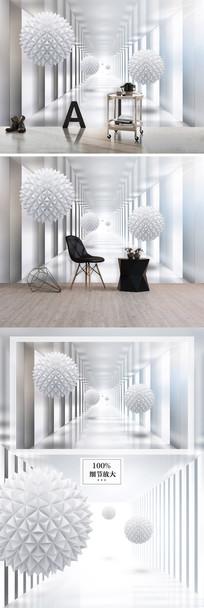3d立体圆球未来空间背景墙