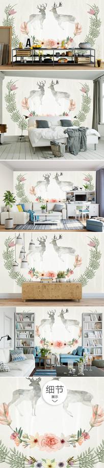 北欧麋鹿沙发背景墙