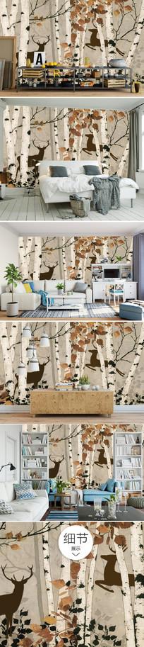 北欧时尚森林森系沙发背景墙