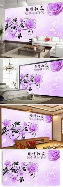 粉红玫瑰花客厅电视背景墙图片