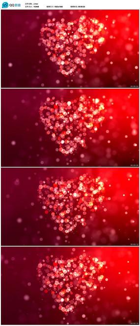 红色粒子婚礼爱心背景视频