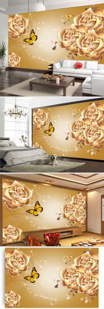 金色玫瑰花客厅电视背景墙图片